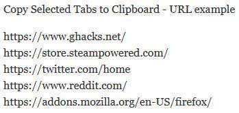 Copiar las pestañas seleccionadas al portapapeles - Ejemplo de URL