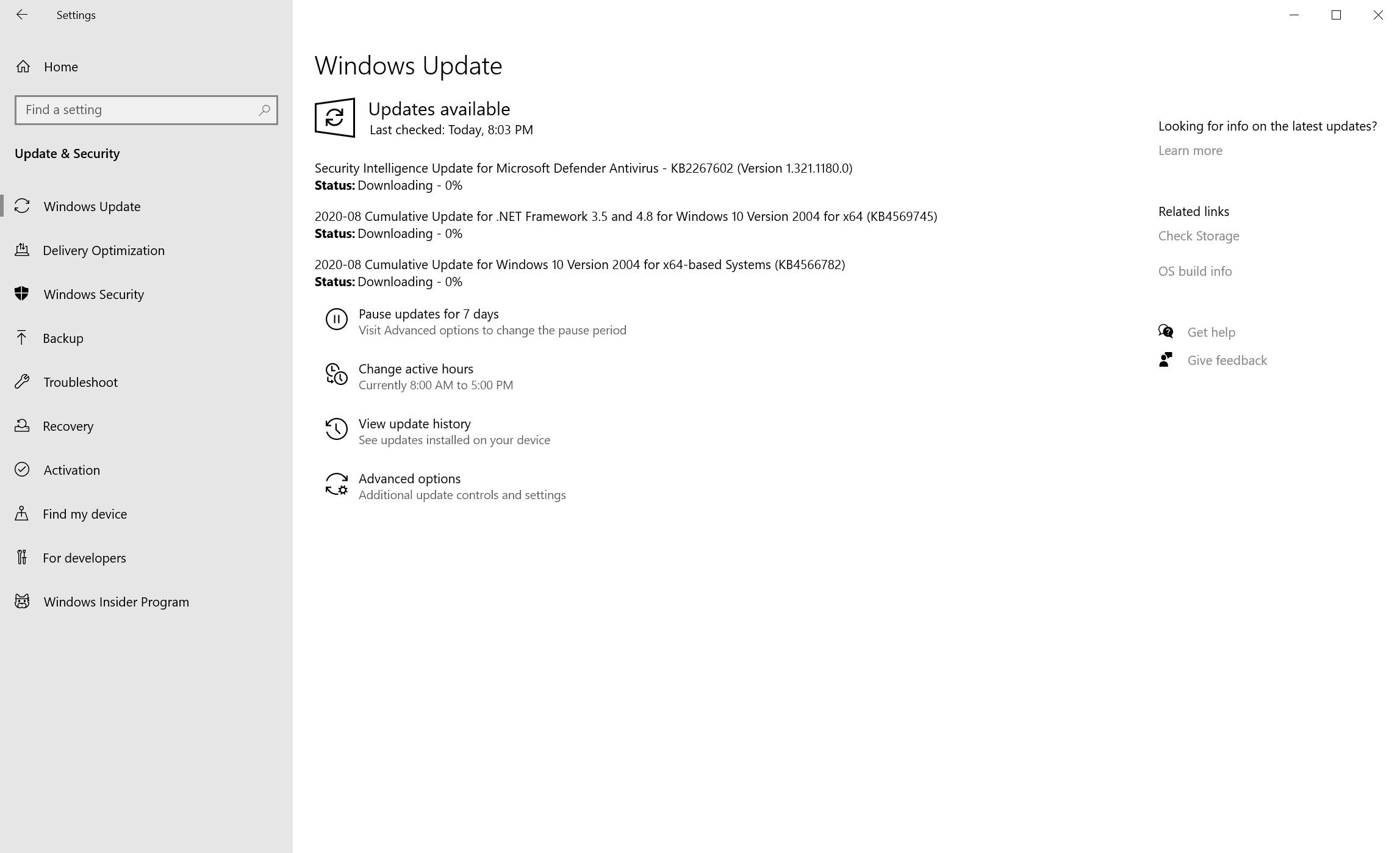 actualizaciones de windows agosto de 2020