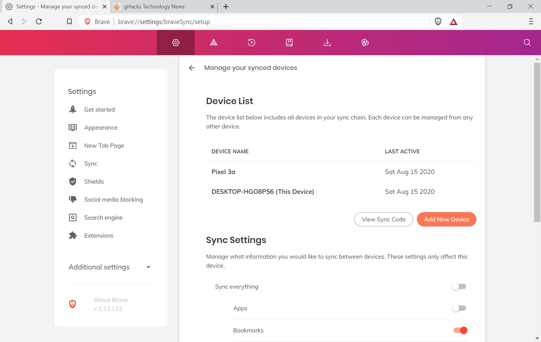 brave sync v2 desktop