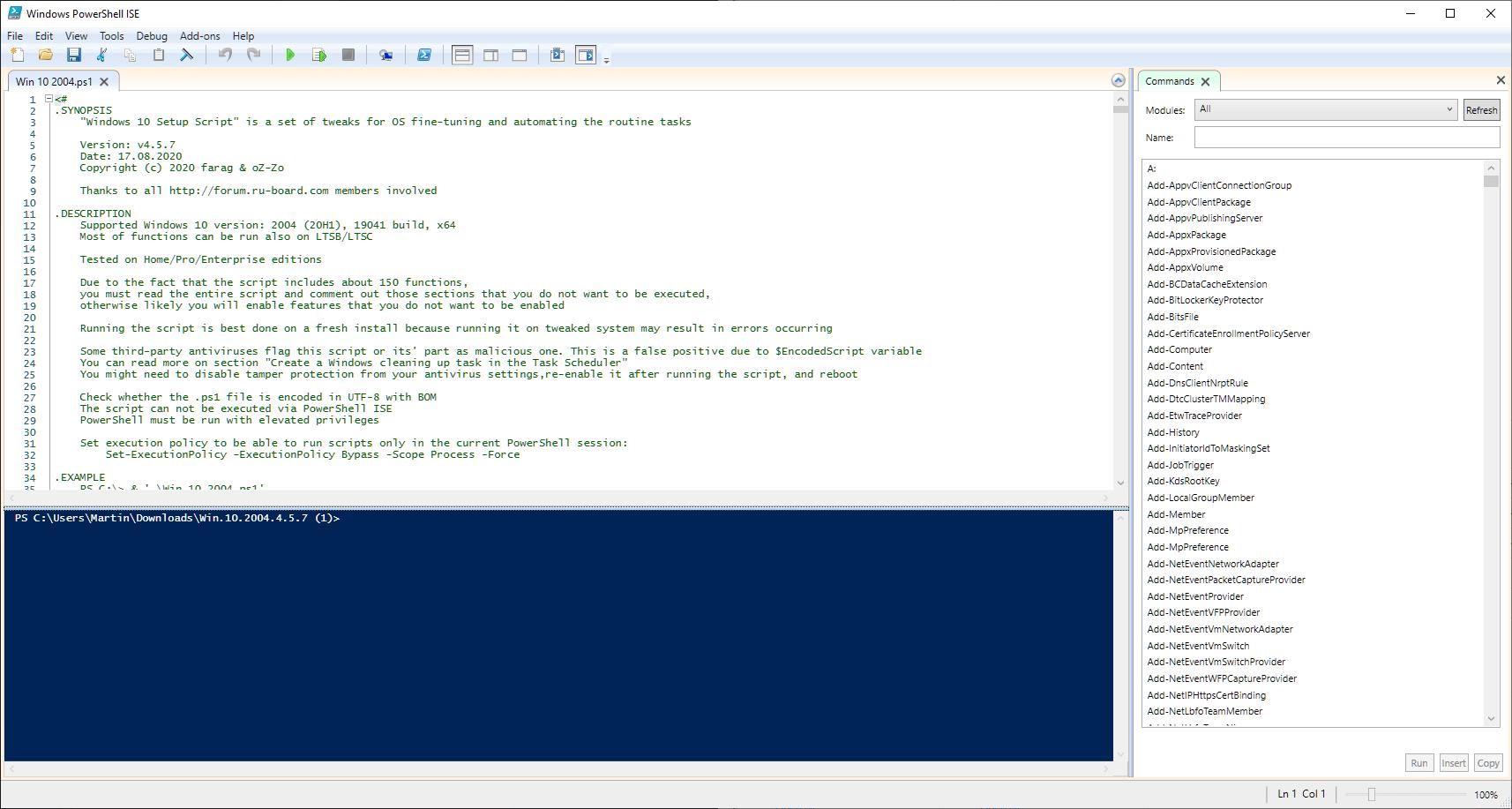 guión de configuración de windows 10