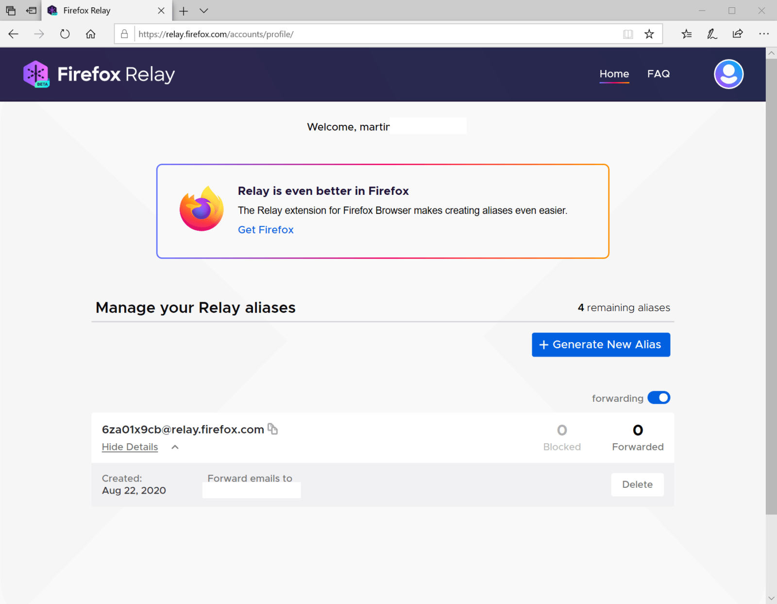 firefox relay interface web