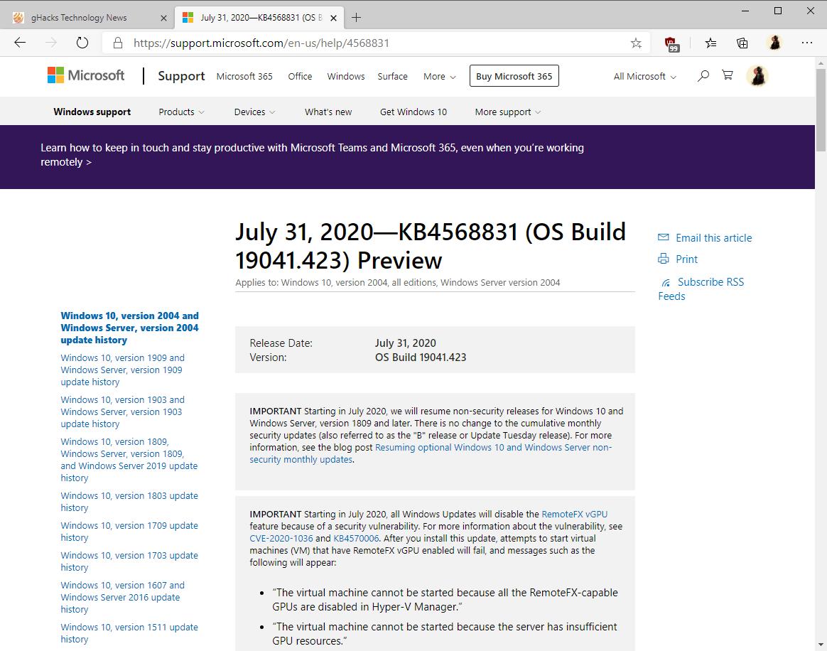 actualización de Windows 10 KB4568831