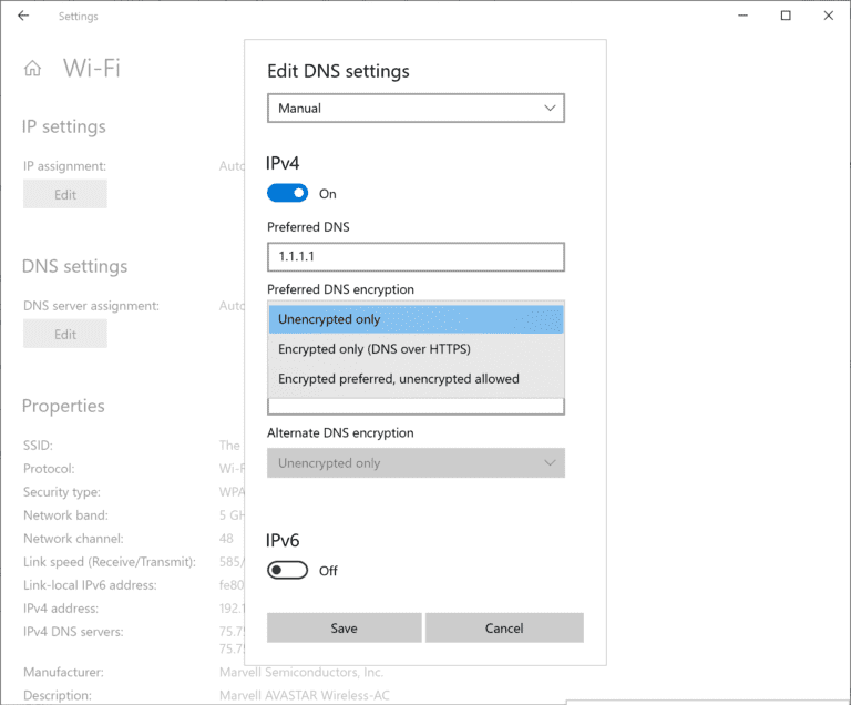 windows-10 dns sobre la configuración de https