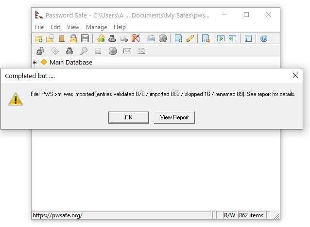 Contraseña Importación segura XML de KeePass 2