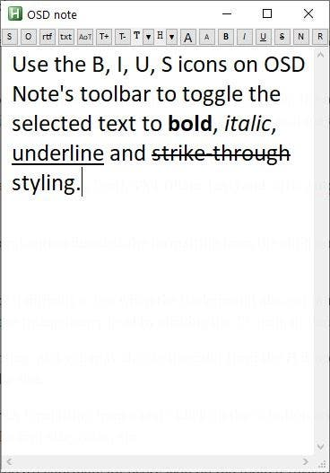 El formato de texto enriquecido de la nota OSD