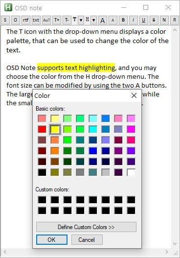 Nota OSD Resaltado de texto