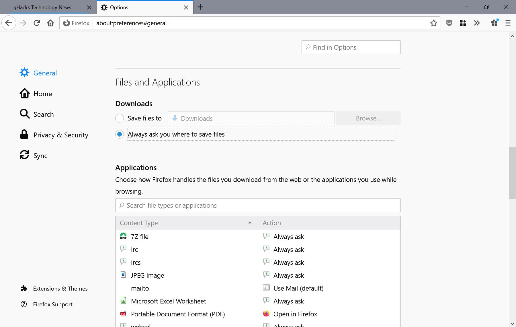 Firefox siempre pide descargas