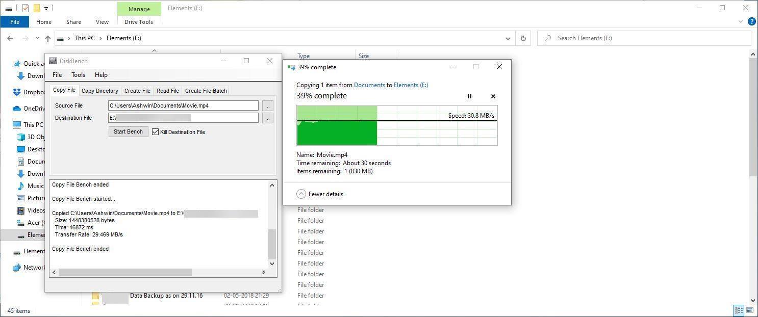 Ejemplo de DiskBench con Explorer