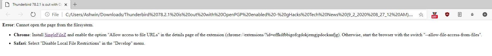 Requisitos para la extensión de SingleFileZ Chrome