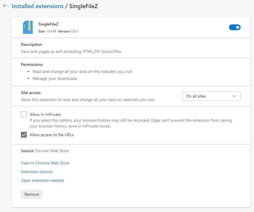 SingleFileZ Requisitos de extensión de cromo 2