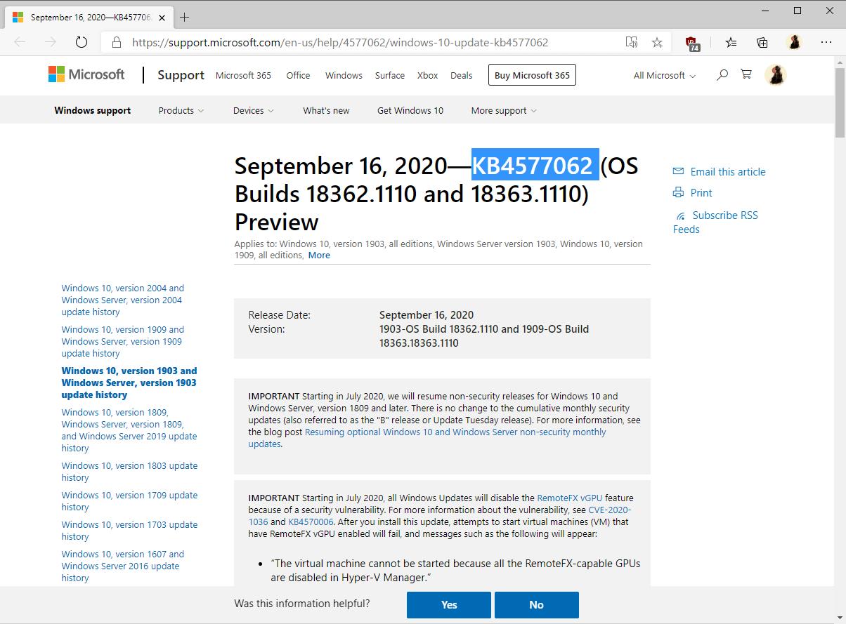 windows 10-version 1809 KB4577069