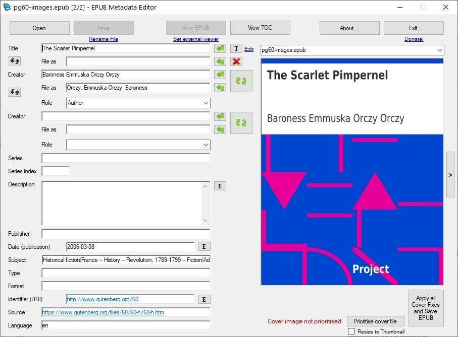 Editor de metadatos de EPUB - editar un ebook