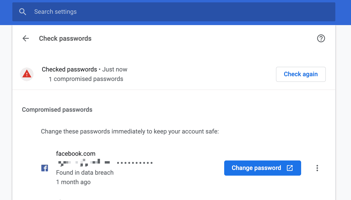 enlace de cambio de contraseña de Chrome