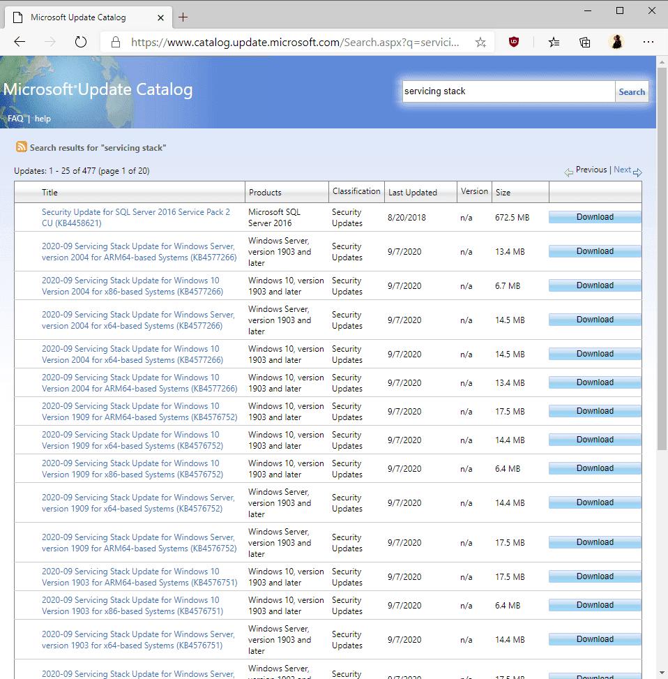 servicing stack updates
