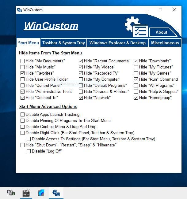 WinCustom is a freeware tool that can be used to disable various options in Windows