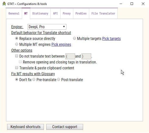 GT4T Machine Translations MT tab