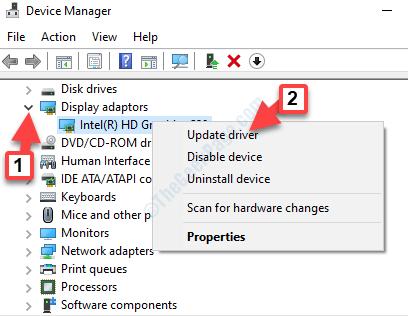 Adaptadores de pantalla del administrador de dispositivos Ampliar el controlador de gráficos Hacer clic con el botón derecho Actualizar el controlador
