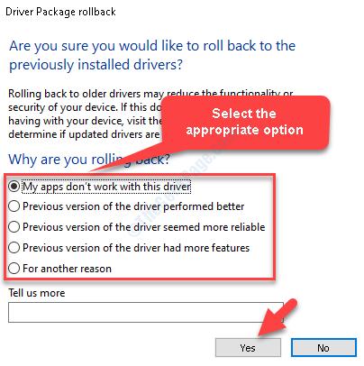 Paquete de conductor Rollback Seleccione la opción apropiada Sí