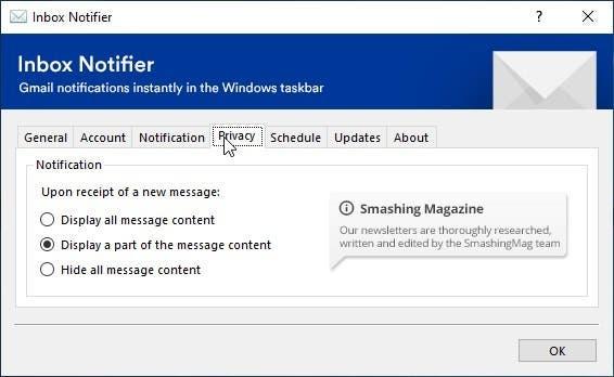 Privacidad del notificador del buzón de entrada