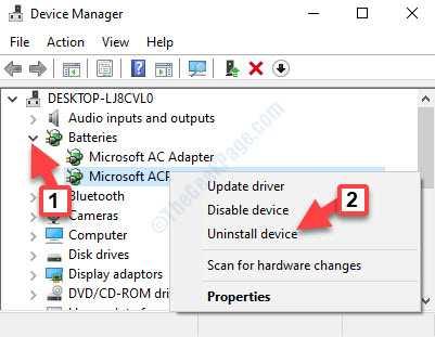 Baterías del administrador de dispositivos Método de control de conformidad con Microsoft Acpi Batería Haga clic con el botón derecho del ratón en Desinstalar dispositivo