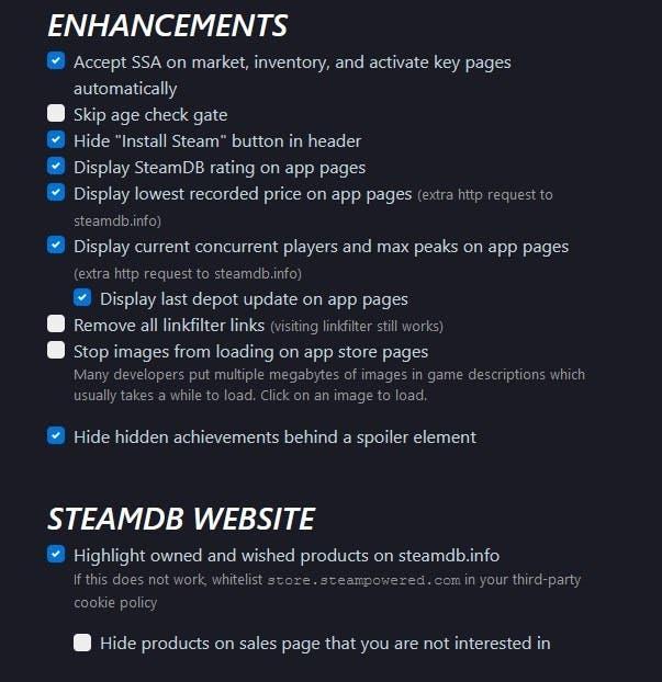 Opciones de Steamdb 2