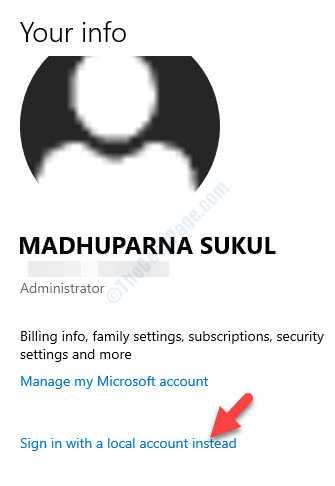 Cuenta de configuración Administrador de cuentas de Microsoft Inicie sesión con una cuenta local en su lugar