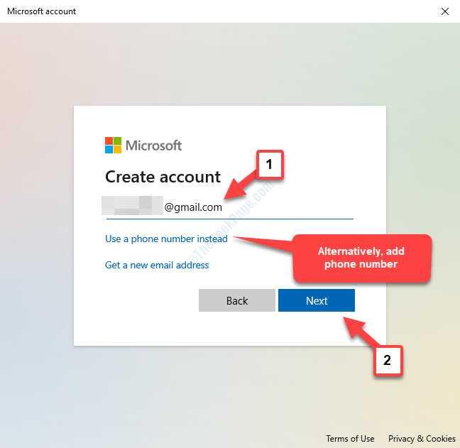 Microsoft Create Account Agregar correo electrónico o número de teléfono Siguiente