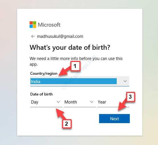 ¿Cuál es su fecha de nacimiento? País o región Fecha de nacimiento siguiente