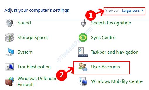 Panel de control Vista por grandes iconos Cuentas de usuario