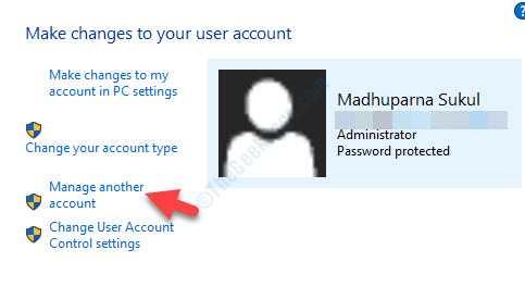 Cuentas de usuario a la derecha Administrar otra cuenta