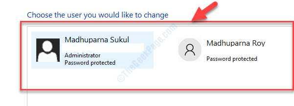 Elija el usuario que desea cambiar