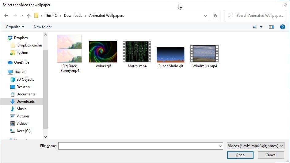 Formatos compatibles con el autowall