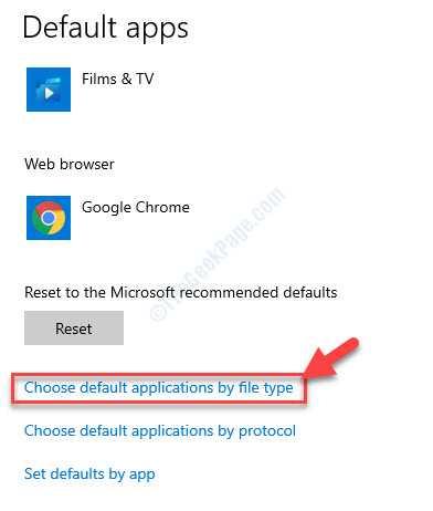 Aplicaciones predeterminadas Seleccione las aplicaciones predeterminadas por tipo de archivo