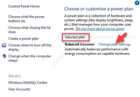 Opciones de energía Seleccionado Plan Cambiar la configuración del plan