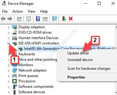 Administrador de dispositivos Ide Ata Atapi Controladores Ahci Controlador Clic derecho Actualizar controlador