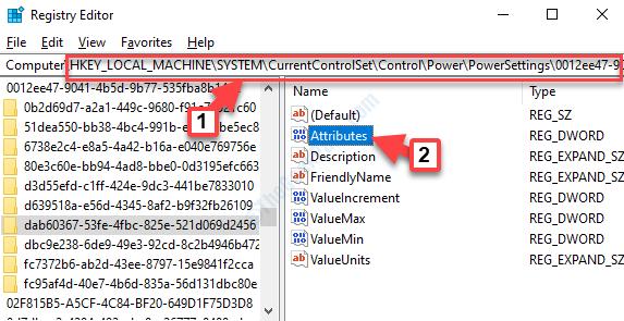 Editor de registro Navegar a la configuración de energía Ruta 2 Atributos Doble clic