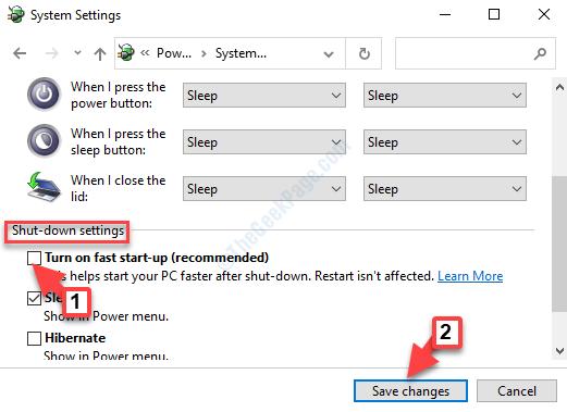 Apagar la configuración Activar el inicio rápido (recomendado) Desmarcar Guardar cambios