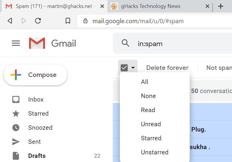 gmail selecciona todos los correos electrónicos
