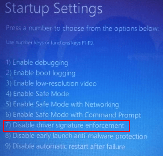 Configuración de inicio Deshabilitar el signo del controlador