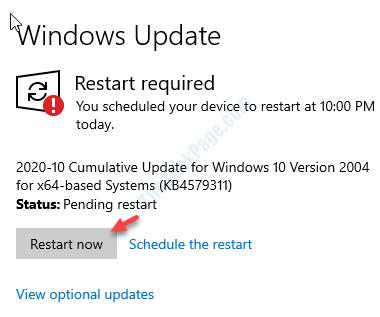 Ver actualización opcional Reiniciar ahora