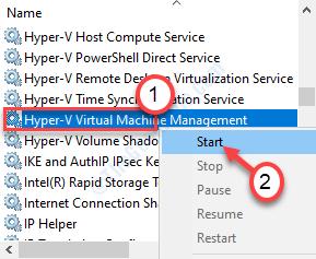 Inicie el Hyper V