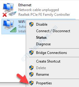 Conexiones de red Conexión Wifi activa Propiedades de clic derecho