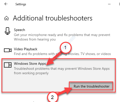 Las aplicaciones de la tienda ejecutan el Troublshooter