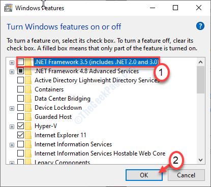 Desactivar Net Framework