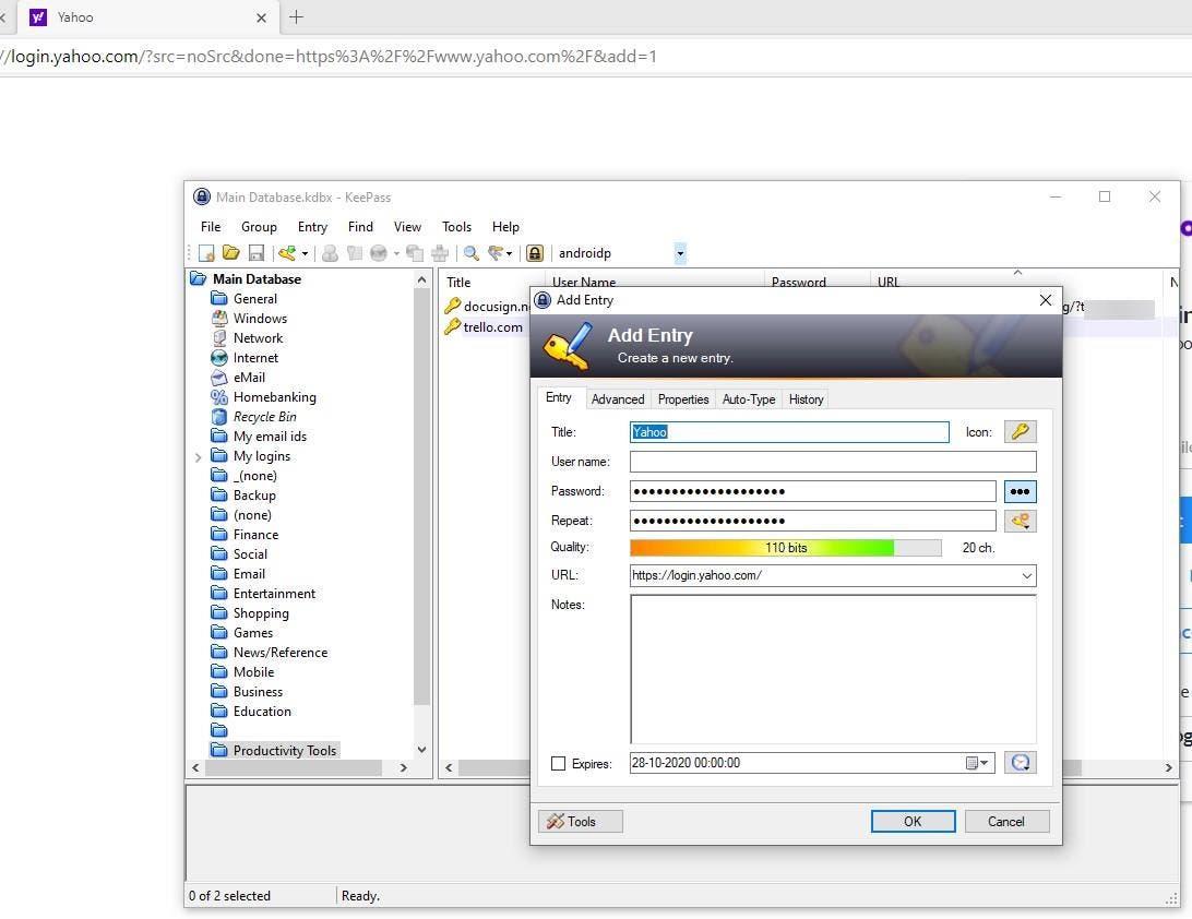 KeePass WebAutoType crear nueva entrada