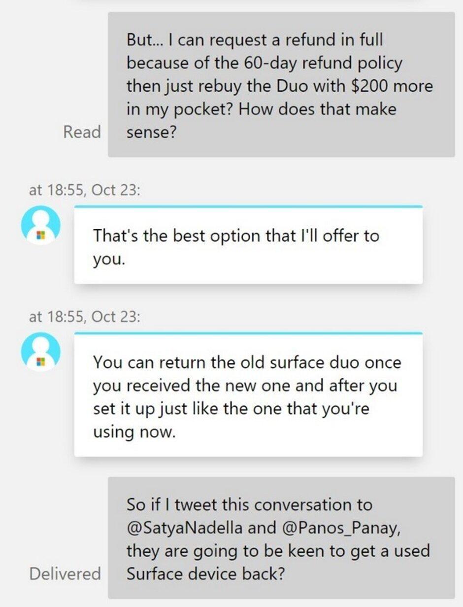 El tweet incluye una conversación sobre lo que los propietarios del Surface Duo deben hacer para igualar el nuevo precio de venta de Microsoft en el dispositivo - Microsoft enciende la controversia del Surface Duo después del anuncio de la semana pasada