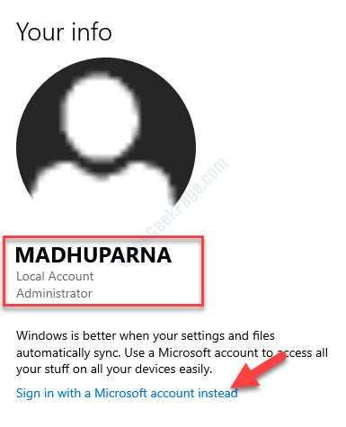 Configuración Cuenta Administrador de cuenta local Iniciar sesión con una cuenta de Microsoft en su lugar