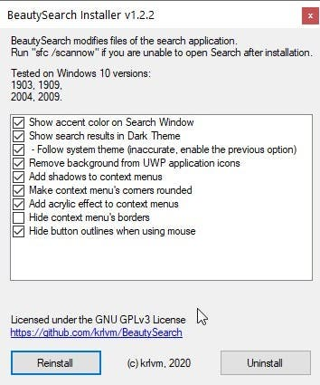 Customize the appearance of Windows 10 Search with BeautySearch