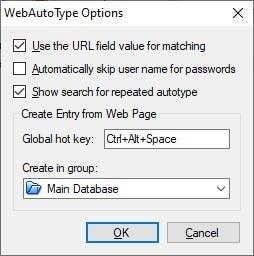 Opciones de KeePass WebAutoType