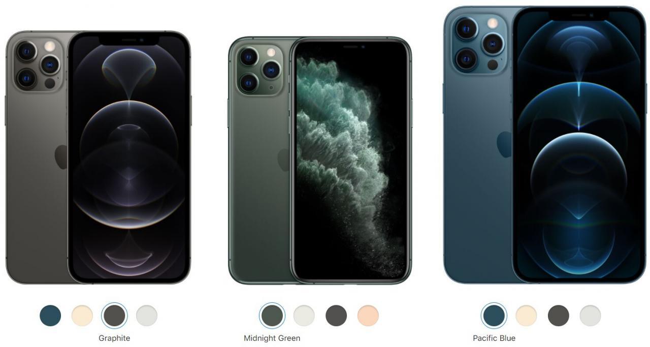 Fuera el verde de medianoche y el gris espacial, dentro el azul del Pacífico y el grafito - Apple iPhone 12 Pro/Max vs iPhone 11 Pro/Max